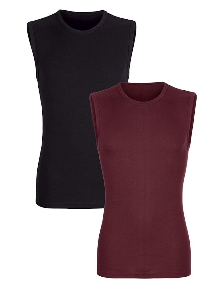 G Gregory Mouwloze shirts per 2 stuks  Robijnrood::Zwart
