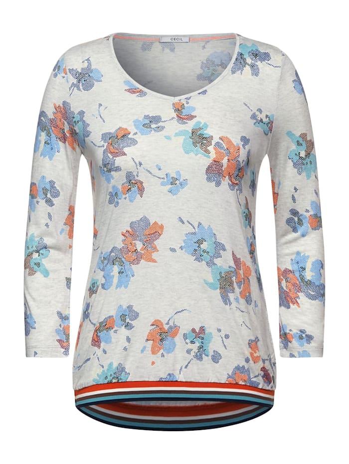 cecil - T-Shirt in Melange Optik  off white melange