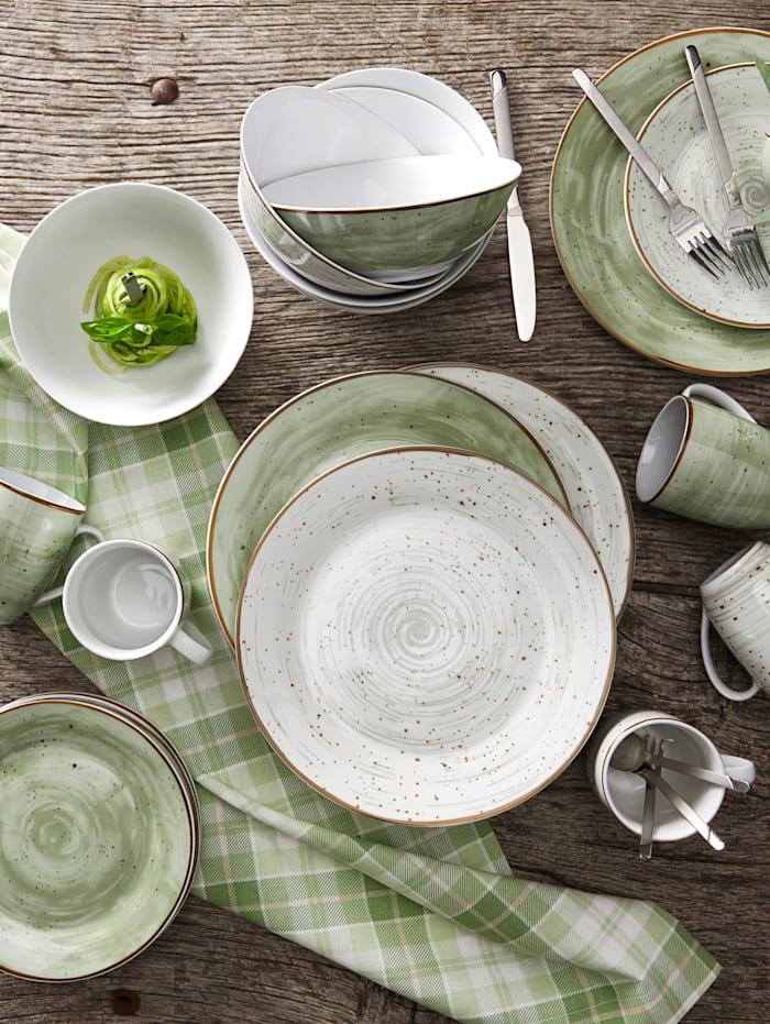 24-delig servies Van Well groen/grijs
