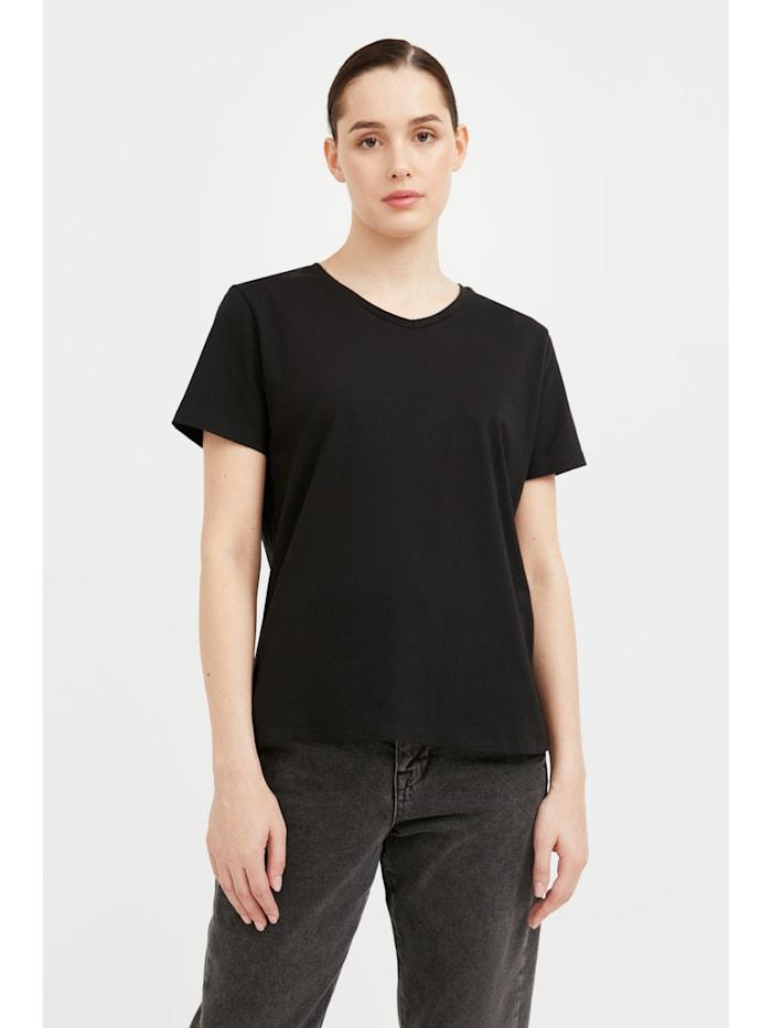 finn flare - Basic Shirt mit V-Ausschnitt  black