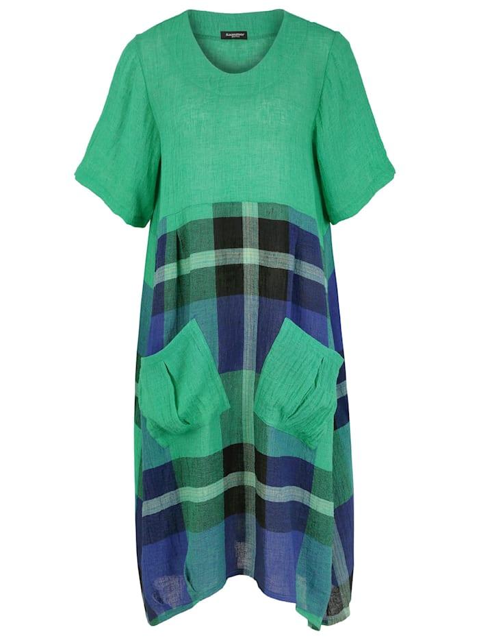 sammer berlin - Kleid mit aufgesetzten Taschen  grün-blau-karo
