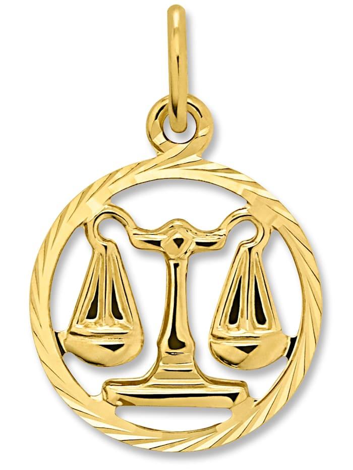 one element - Damen Schmuck Sternzeichen Anhänger Waage aus 333 Gelbgold  gold
