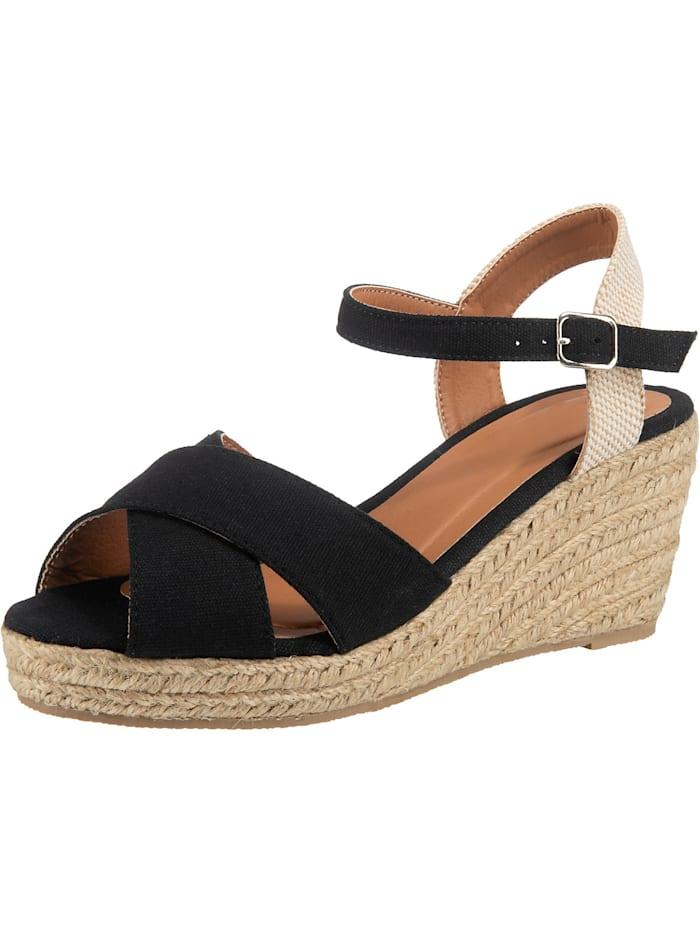 ambellis - Peeptoe-Sandalette mit Keilabsatz  schwarz