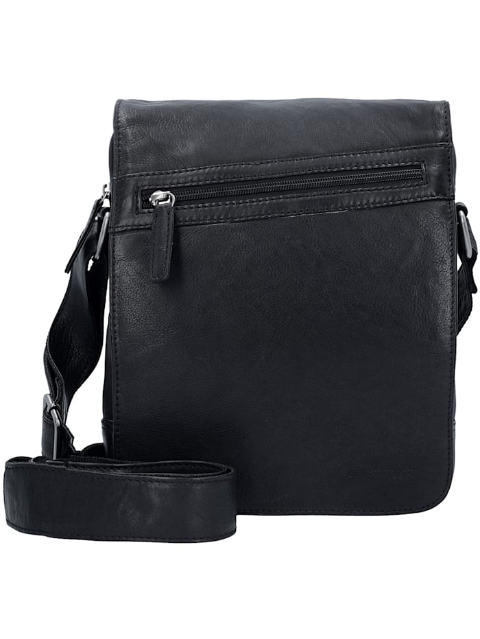 greenburry - Oily Tumbled Umhängetasche Leder 29 cm Tabletfach  black