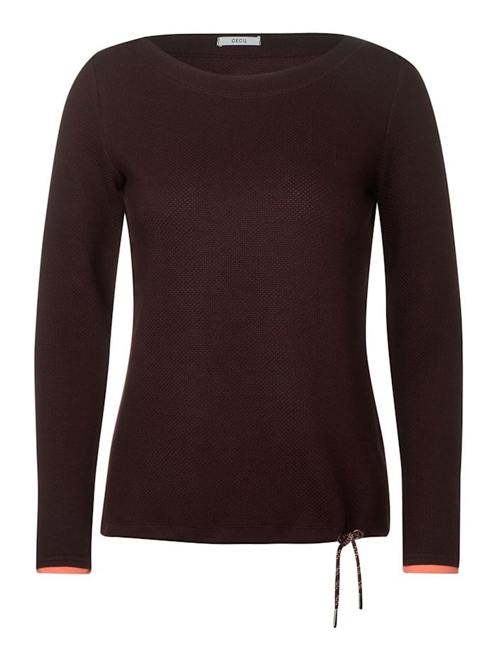 cecil - Langarmshirt mit Struktur  fudge brown