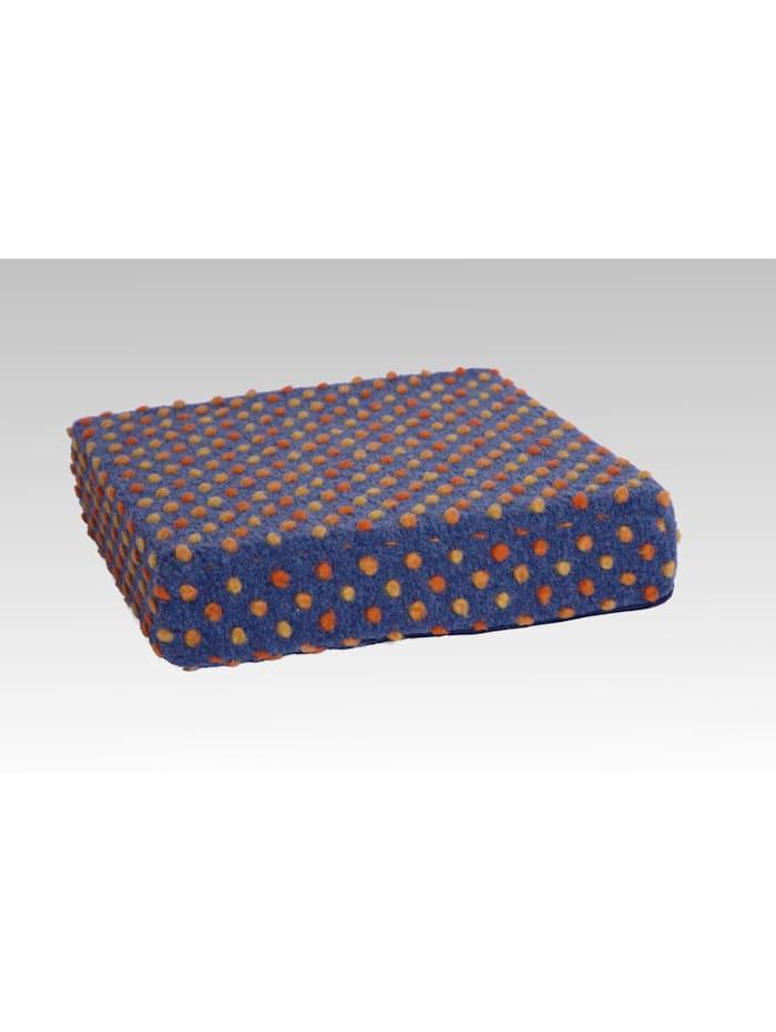 Sitzkissen Sitzerhöhung Aufstehhilfe Auto Wolle Noppen blau 40/40/10 cm Linke Licardo blau