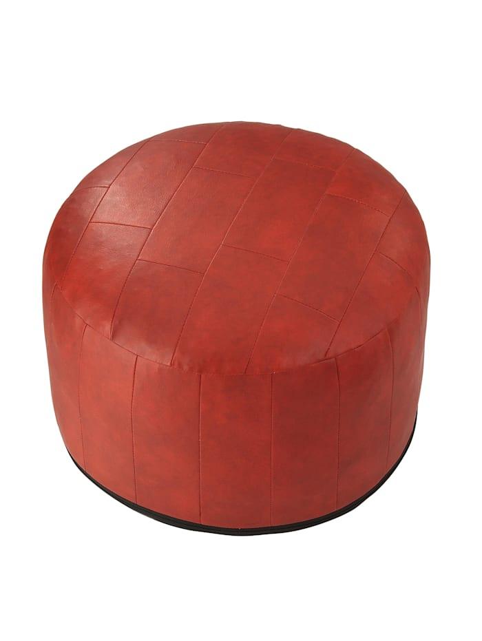 Sitzkissen-Patchwork Kunstleder rot Ø 50/34 cm Linke Licardo rot
