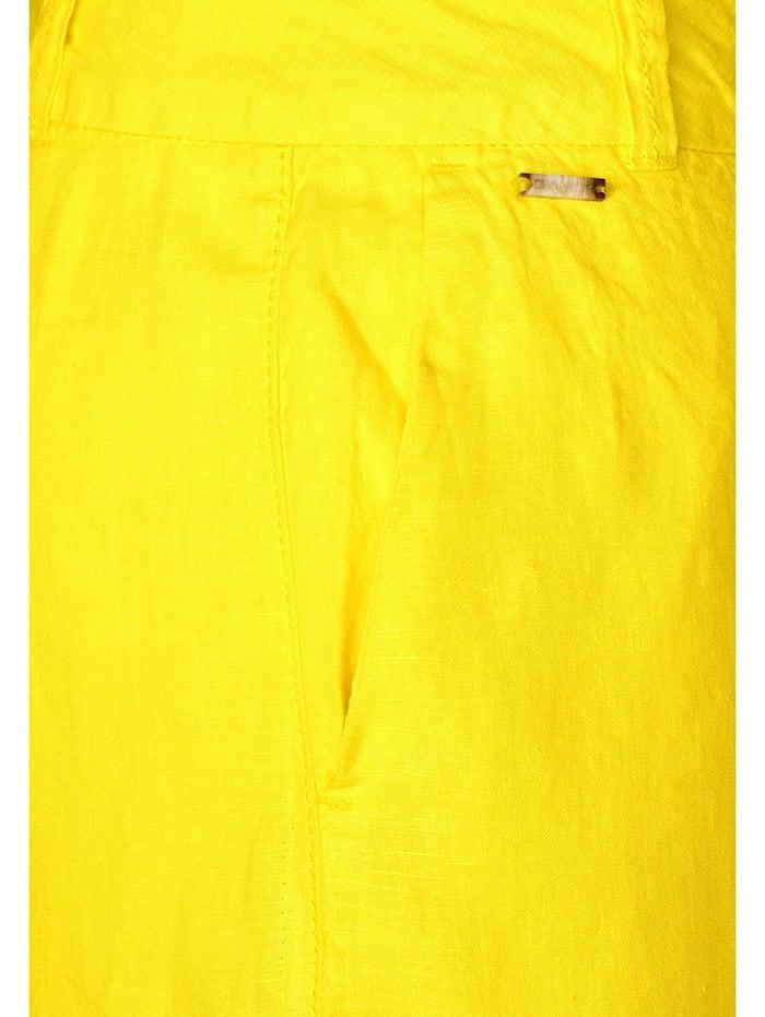 street one - Leinen-Hose mit Wide Legs  shiny yellow