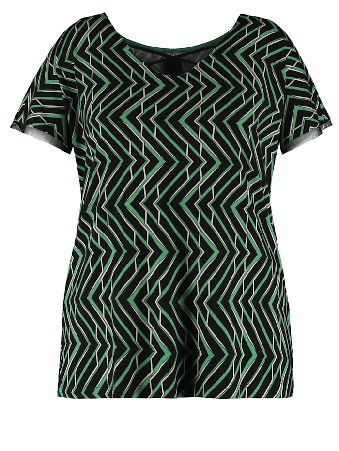samoon - Shirt mit raffiniertem V-Ausschnitt EcoVero  Leaves Green gemustert