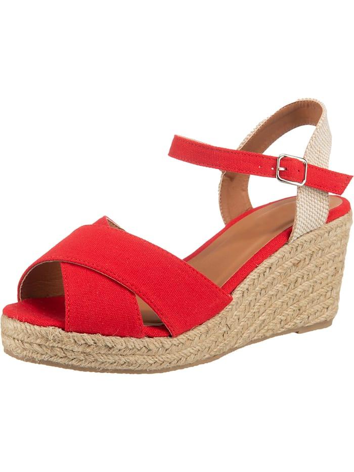 ambellis - Peeptoe-Sandalette mit Keilabsatz  rot