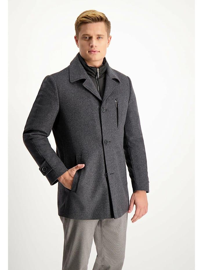 lavard - Mantel mit doppeltem abnehmbarem Kragen  grau