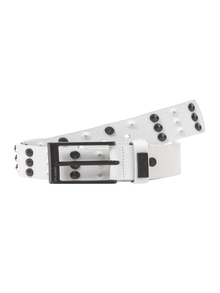 cipo & baxx - Ledergürtel mit schlichter Schließe  White