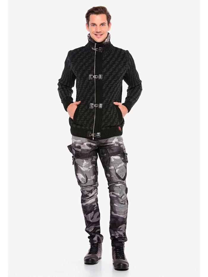 cipo & baxx - Cargojeans mit Seitentaschen in Regular Fit  Anthrazit Camouflage