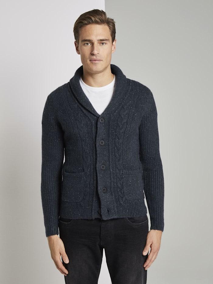 tom tailor - Strickjacke im Struktur-Mix  blue nep yarn