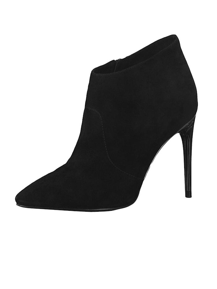tamaris - 1-25392-23 001 Damen Stiefelette High Heeled Ankle Boot Leder Black Schwarz mit TOUCH-IT Sohle  Black