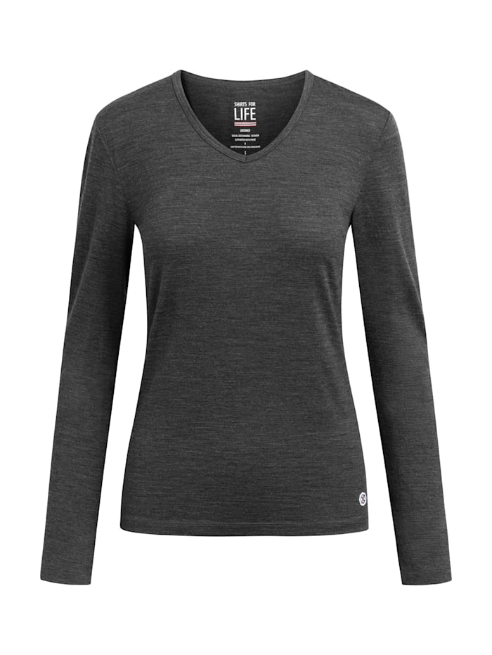 shirts for life - Longsleeve SFL Womens Merino  anthracite