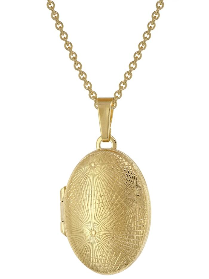 trendor - Medaillon 333 Gold (8 Karat) + vergoldete Silber-Kette  Goldfarben