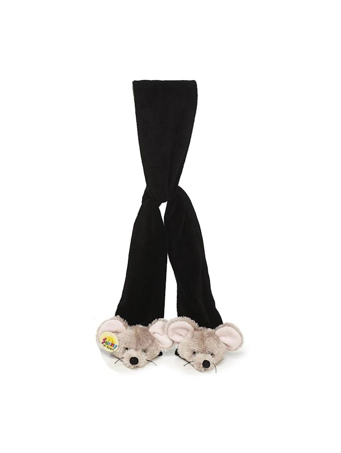 hti-living - Schal aus Plüsch Maus  schwarz