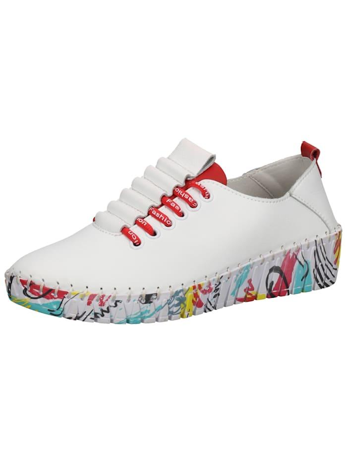 Leder Sneaker Cosmos Comfort Weiß/Rot