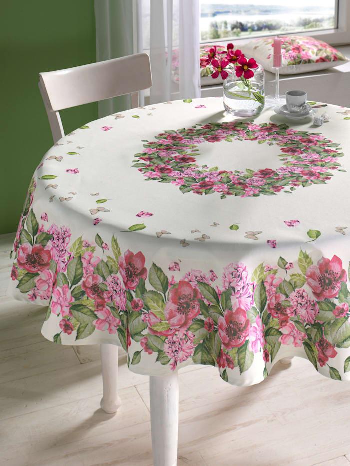 Tafellinnen Iska Webschatz ecru/roze