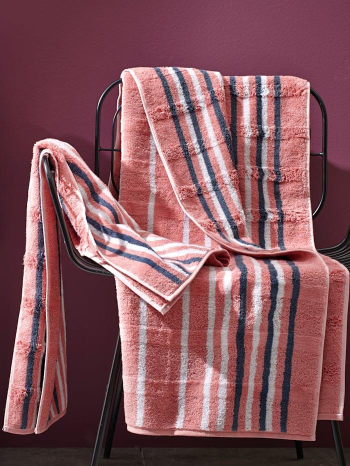 Handdoeken Noblesse Lines Cawö rouge