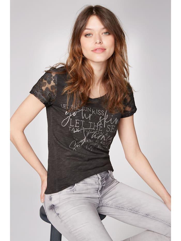soccx - T-Shirt mit Ärmeln aus Spitze  black