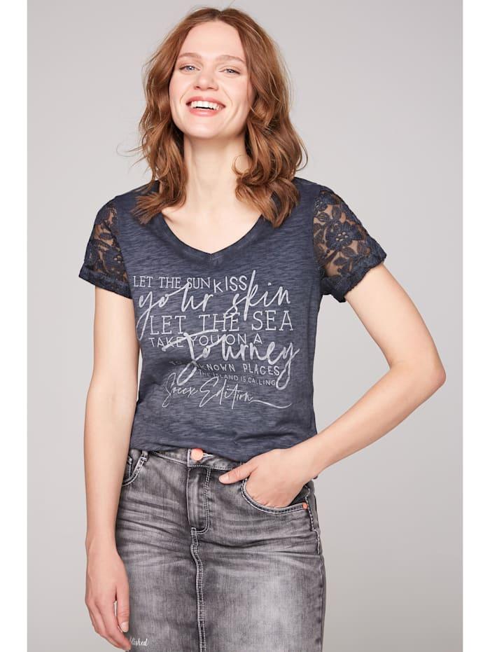 soccx - T-Shirt mit Ärmeln aus Spitze  berry blue