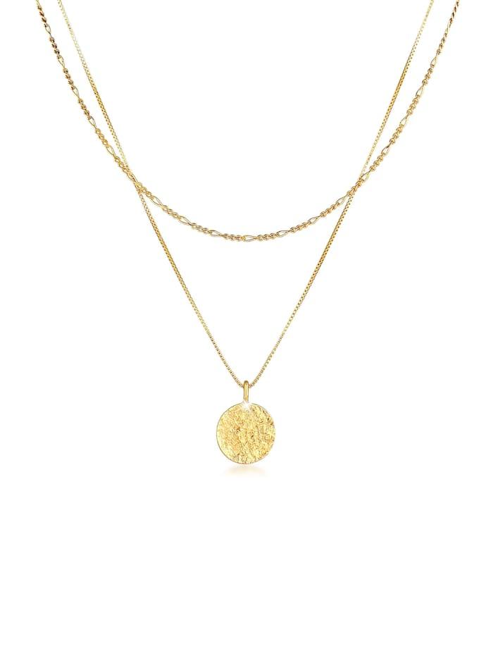 kuzzoi - Halskette Herren Layer Figaro Venezianer Plättchen 925 Silber  Gold