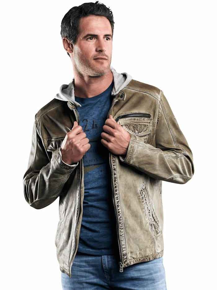 engbers - Lederjacke mit abnehmbarer Kapuze  Khakigrün