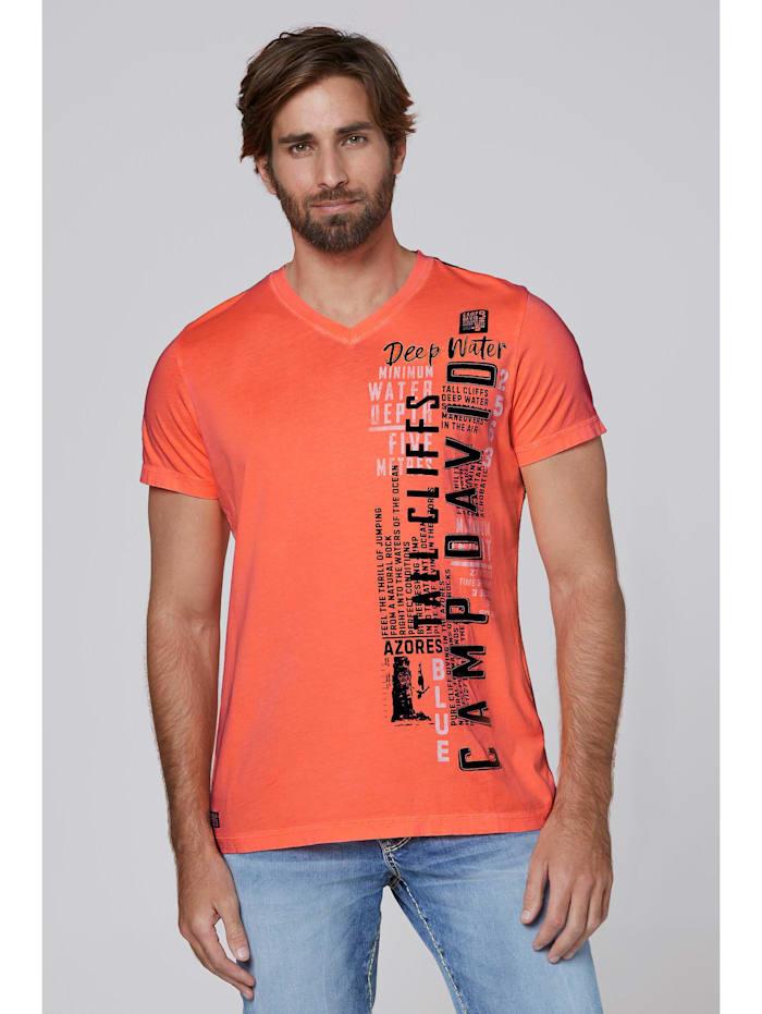 camp david - T-Shirt mit V-Neck, Prints und Stickereien  neon orange