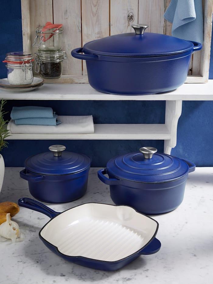 Gietijzeren pan Blue Magic GSW blauw/crèmewit