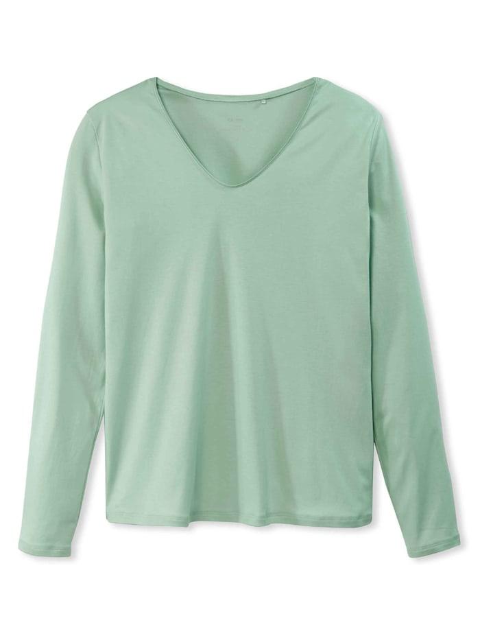 calida - Langarm-Shirt, V-Neck  harbour mint