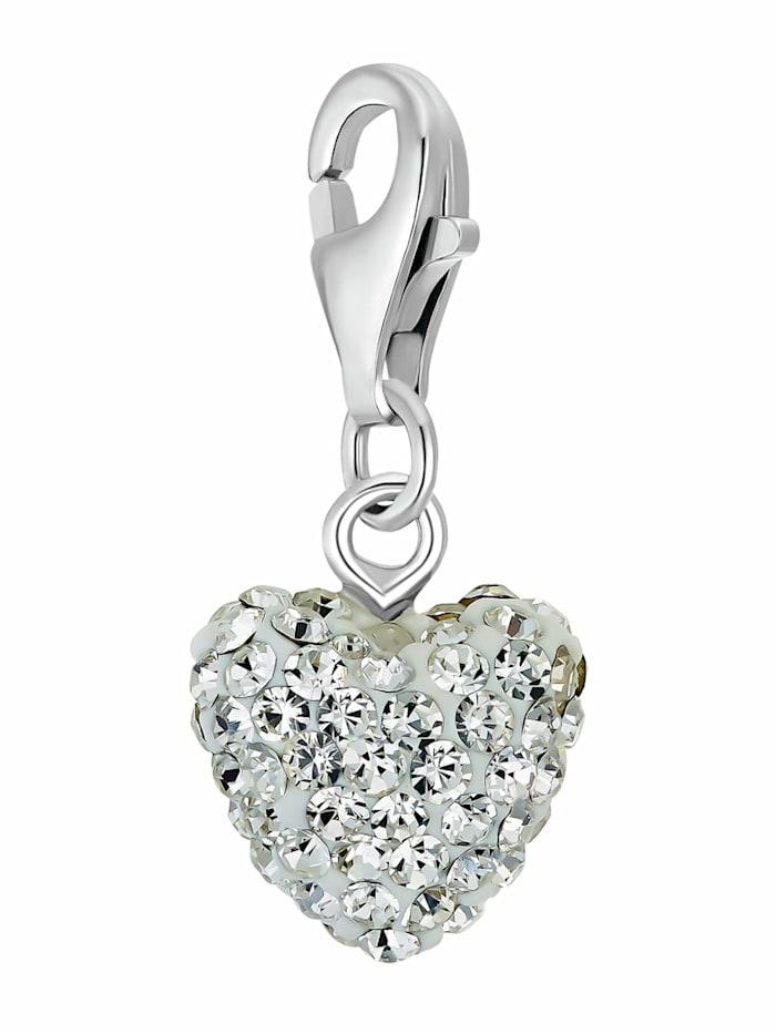 amor - Charms für Damen, 925 Sterling  Silber  Kristallglas   Herz  Silber