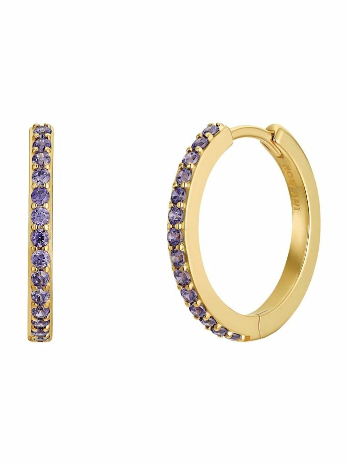 noelani - Creolen für Damen, Silber 925 vergoldet  Zirkonia lila  Gold