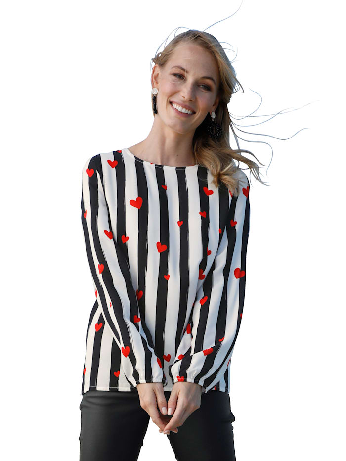 Blouse AMY VERMONT Zwart::Wit::Rood