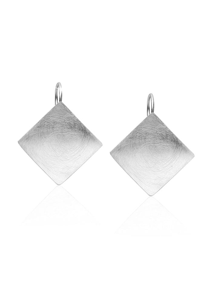 Nenalina Ohrringe Basic Geo Viereck Brushed Trend 925 Silber Nenalina Silber