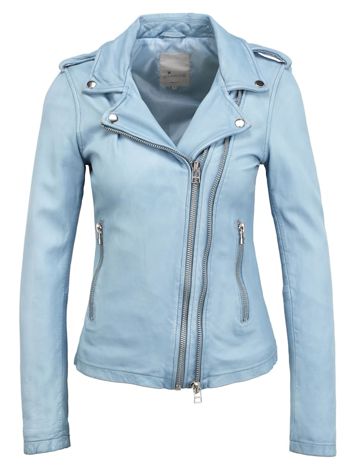 goosecraft - Lederjacke Ray  light blue