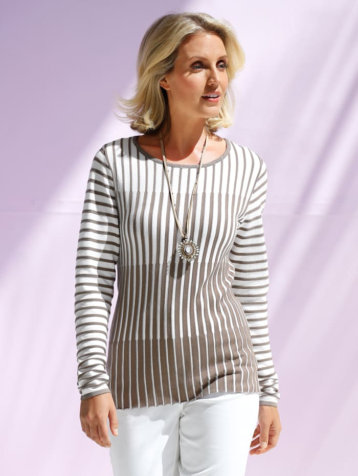 Pullover Paola Taupe Weiß