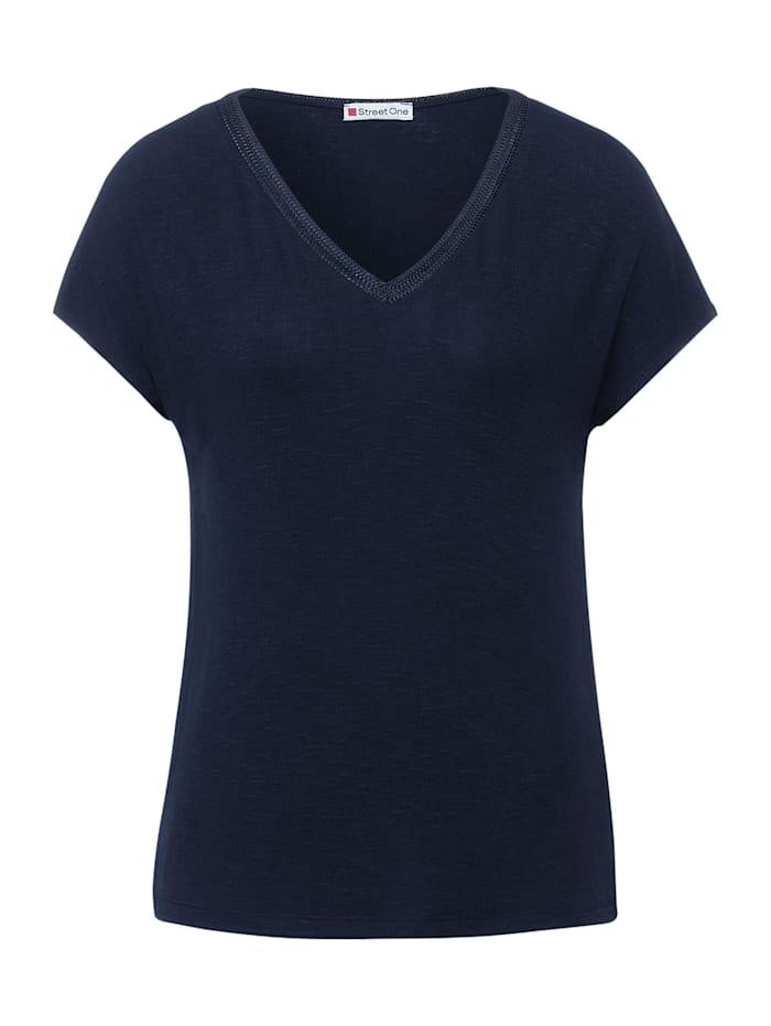 street one - T-Shirt mit Strick Detail  deep blue