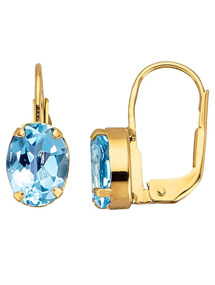 Boucles d'oreilles à topazes bleues KLiNGEL Bleu