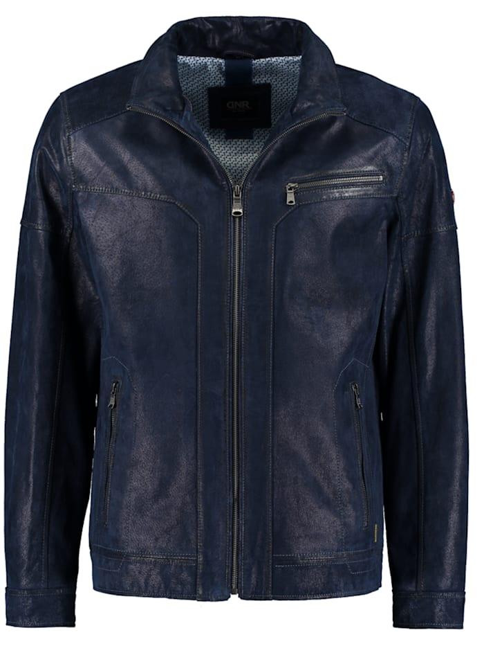 dnr jackets - Herren Lederjacke in Vintageoptik mit Reißverschluss  marine blue