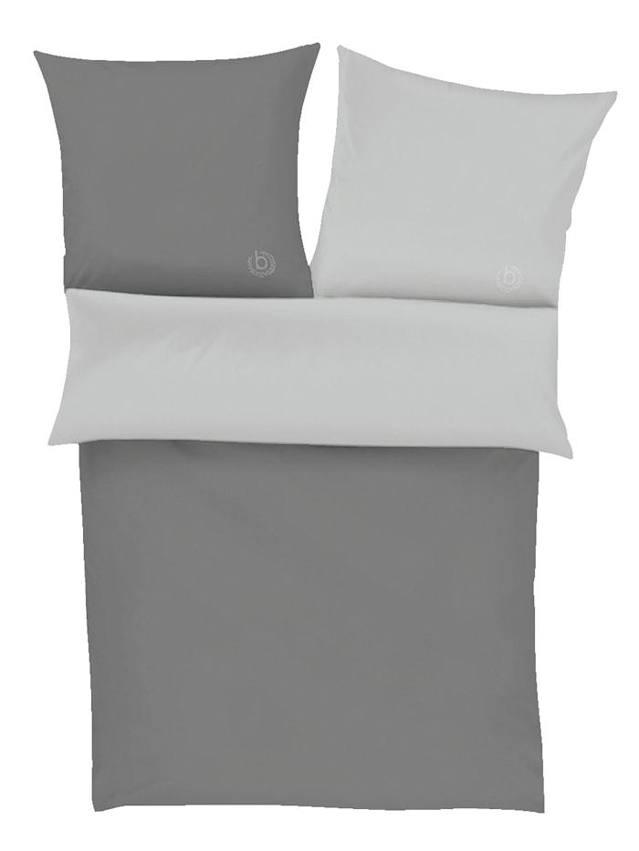Parure de lit percale Ibena Anthracite/gris argenté