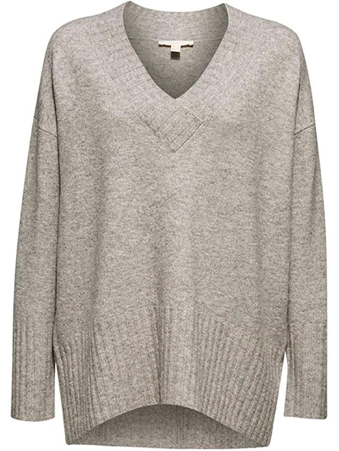esprit -  Shirt modern V-neck Sweaters  Hellgrau