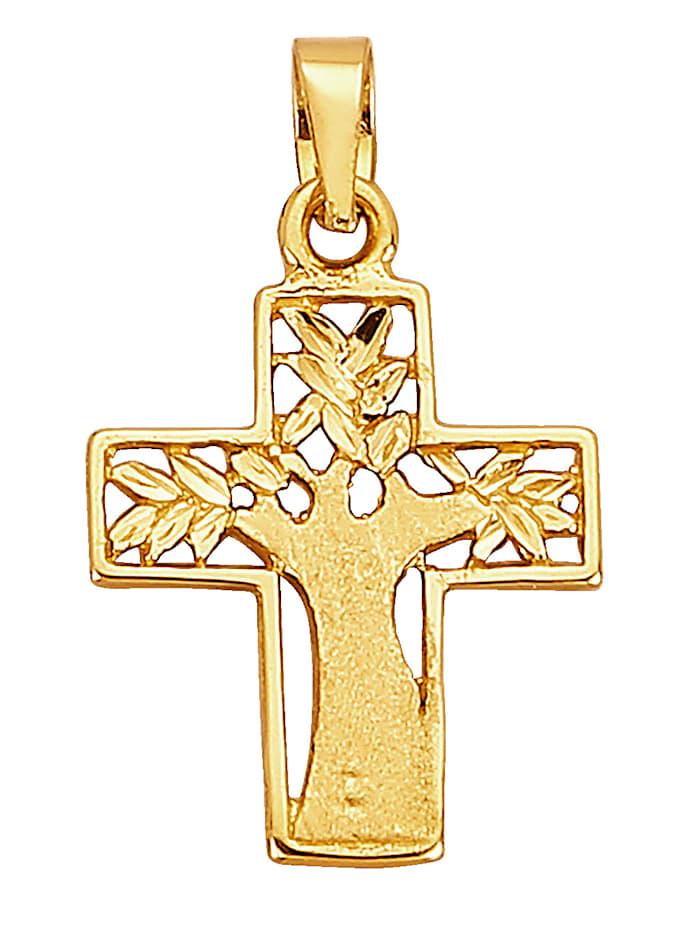 Kreuz-Anhänger in Gelbgold KLiNGEL Gelb