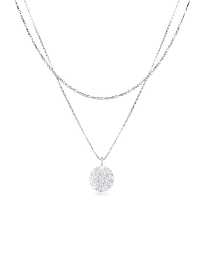 kuzzoi - Halskette Herren Layer Figaro Venezianer Plättchen 925 Silber  Silber