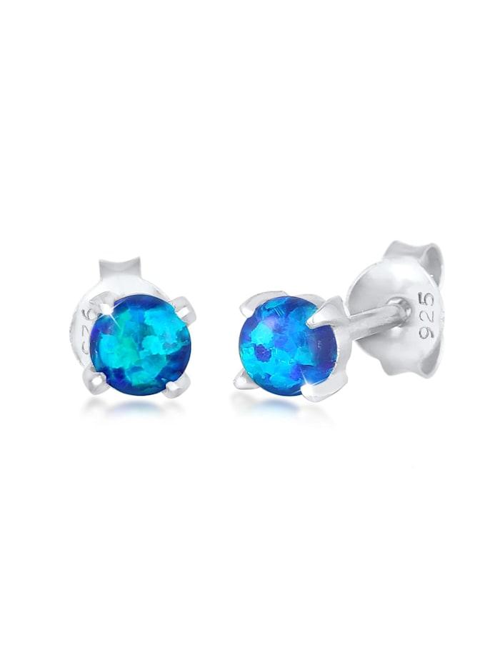 elli - Ohrringe Stecker Opal Rund Synthetisch 925 Silber  Blau
