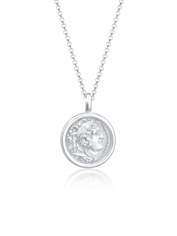 Elli Halskette Münze Plättchen Vintage Antik Trend 925 Silber Elli Silber