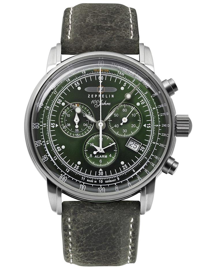 zeppelin - 100 Jahre  Chronograph Alarm Leuchtblatt 8680  grün