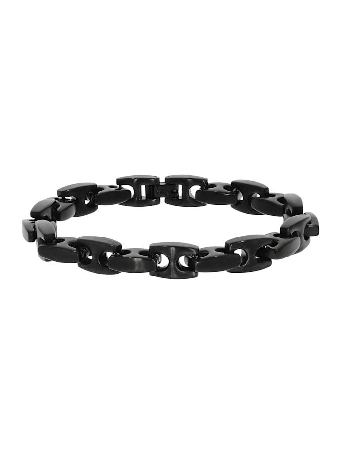 zeeme - Armband Edelstahl 23,5cm Glänzend  schwarz