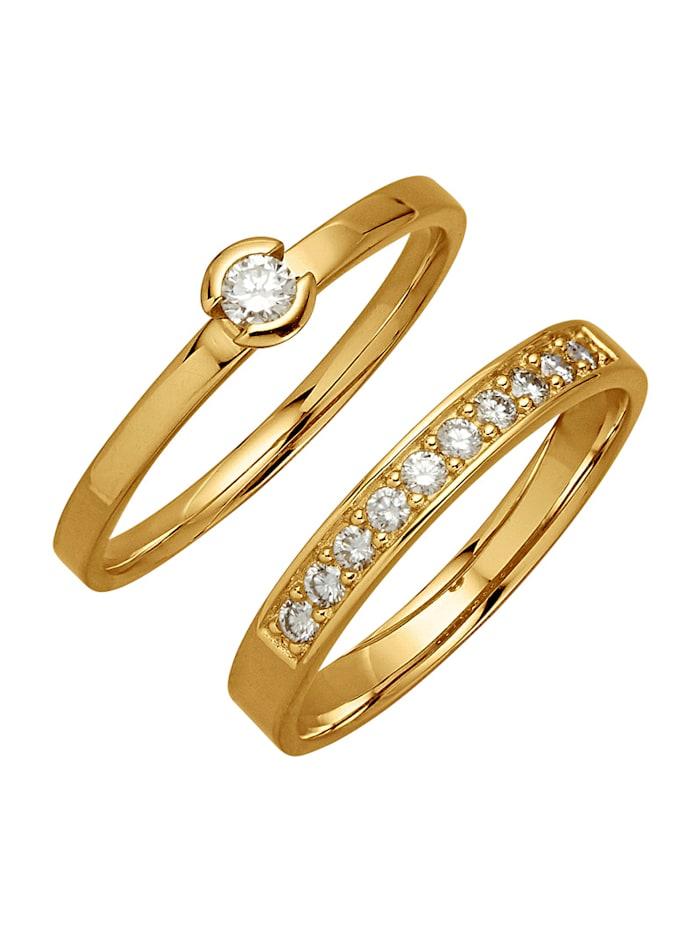 Image of 2tlg. Ring-Set Amara Diamant Gelb